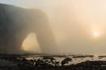 Zonsondergang in de mist